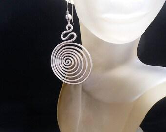 Handmade wire earrings Statement earrings Statement Dangle earrings Silver Wire earrings Spiral earrings Fashion earrings Drop earrings