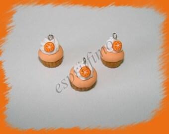 """Orange cupcake"" charm in polymer clay"
