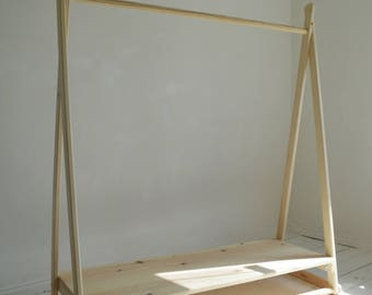Handmade, Natural Wood, Clothes Rail with Shelf in pure natural untreated wood