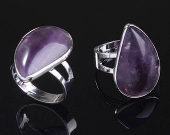 Drop silver plated - Amethyst (size adjustable) ring