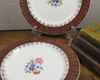 Vintage Salad Plates - Set of Two (2) - Dark Red Rim - Gold Filigree Accent - Floral Center