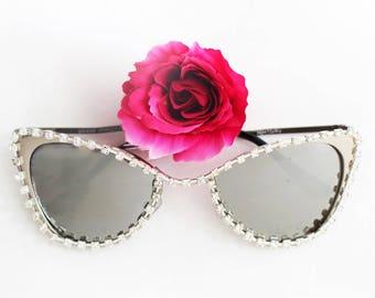 Metallic Cateye Frame, Mirror lens,  cateye sunglasses, steampunk, festival eyewear, goth, high fashion eyewear,  embellished sunglasses