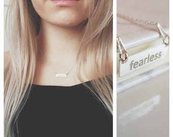 Fearless Necklace | 925 Sterling Silver Women Power Necklace | Fearless | Empowering Necklace | Motivational Necklace | You Go Girl |