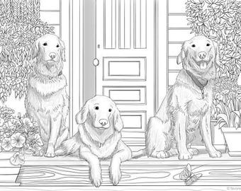 Three Friends - Printable Adult Coloring Page from Favoreads (Coloring book pages for adults and kids, Coloring sheets, Coloring designs)