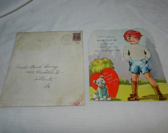1937 Just Getting Warmed Up Valentines card - Boy with his Dog - Boy has a felt shirt - Large Collectible Greeting Card - Ephemera    2-28-2
