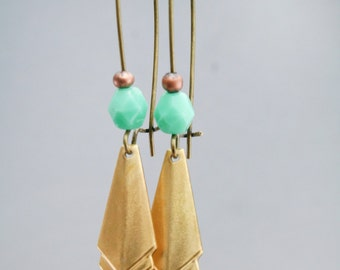 Brass narrow layered geometric Earrings Mother's Day Gift dangle boho