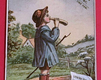 Victorian Trade Card 1800s, Little Boy Blue Come Blow Your Horn, F H Fennoe Dry Goods Notions, Victorian Collectible