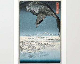 Japanese Style Print, Woodcut Style Art, Raven in Winter