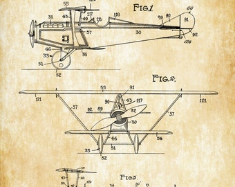 Curtiss Scout Airplane Patent Print - Airplane Blueprint, Vintage Aviation Art, Airplane Art, Pilot Gift, Aircraft Decor, Airplane Poster