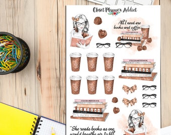 Book Lovers and Coffee Planner Stickers | Mystery Grab Bag February 2017 | Books Stickers | Reading Stickers | Coffee Stickers (MGB-FEB17)