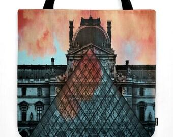 "Large 18"" Boho Chic French Market Tote Bag w/ Tassel - Paris Louvre ""On Fire"" - Fall / Autumn Sunset Tones Orange, Blue, Black - Paris Tote"