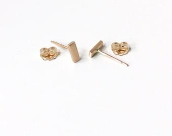 14K Solid Gold Studs - Solid Gold Bar Earrings - 6mm x 2mm - Minimalist Gold Bar Studs