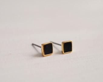Tiny studs, Black stud earrings, Geometric earrings, Minimalist earrings,Gift for her, Gift for him,  Square stud earrings for men,