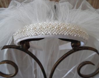 First Holy Communion Veil, First Communion Headband, Communion Headpiece,Beaded Communion Headband,Diamond White & Ivory,Last one
