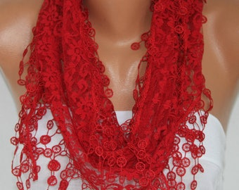 Mother's day Gift,Red Lace Scarf,SummerScarf,Wedding Scarf,Women Scarves Cowl, Bridesmaid Gift For Her Women Fashion Accessories