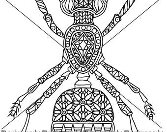 Ant Insect Zentangle Coloring Page