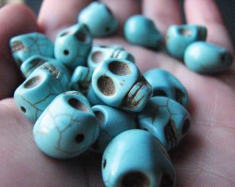 Turquoise head bead skulls mexican sugar skull howlite calavera dia los muertos 10 x 10 mm