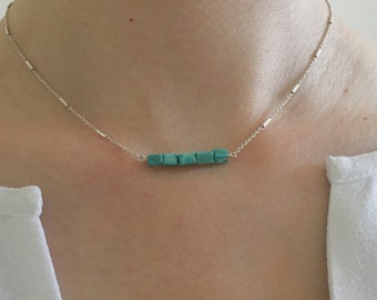 Small Turquoise Beaded Bar Necklace on Sterling Silver Chain