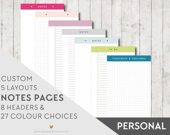 PERSONAL Printable Notes and To Do Pages - PERSONAL - Inserts Filofax Printable Planner Pages, Notes, Lists, Grid, Dot