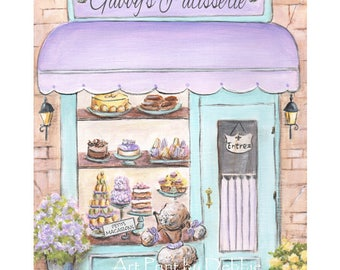 Paris Bedroom Decor Purple Lavender And Teal Nursery Decor, Personalized, Choose Girl's Name For Patisserie, 6 Sizes 5x7 to 24x36