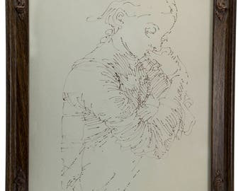 A hand drew classical sketch with vintage frame