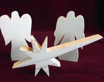 Nativity Angels and Star, Unfinished Pine Cutouts