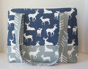 Medium Tote bag, deer diaper bag, diaper bag tote, baby boy diaper bag, grey and navy deer with grey arrows, cosmetic bag