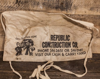 Vintage Carpenter Apron Republic Construction Co. Store Apron Advertising