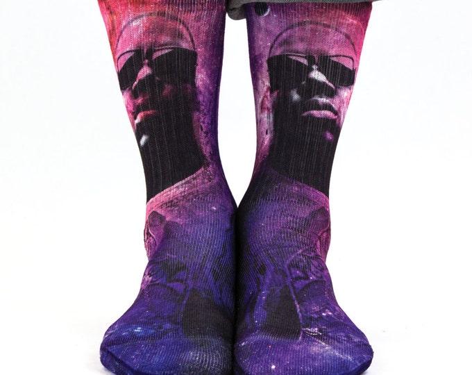 Samson® Notorious B.I.G. Space Sublimation Hand Printed Socks Galaxy Rapper Rap Quality Print UK