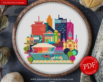 Modern Cross Stitch Pattern of New Orleans for Instant Download *P074 | Easy Cross Stitch| Counted Cross Stitch|Embroidery Design
