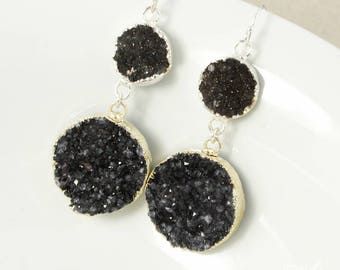 50% OFF SALE - Silver Round Black Druzy Dangle Earrings - Black Geode Earrings - Silver or Gold