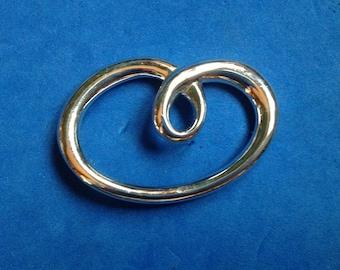 """Vintage Monet stylized modern design silver tone pin 2 1/4"""" x 1 1/2"""""""