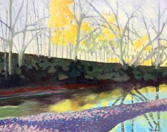 Last of Autumn Original Acrylic Painting on Board, Framed