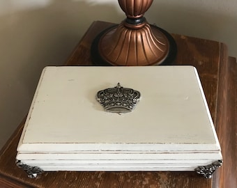 Jewelry Box, Vintage Shabby Chic Antiqued/Distressed White with Metal Crown Charm