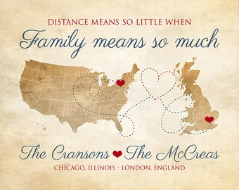 Family Map Gifts, Choose ANY two Maps, Long Distance Friends of the Family, Moving Overseas, USA to UK, Personalized Christmas | WF232