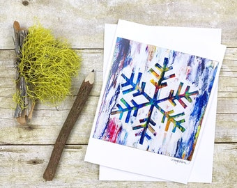 Snowflake Connective Silence 4x6 Art Notecard with Envelope