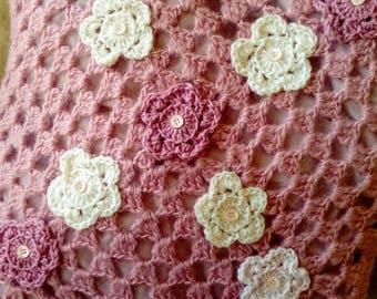 Dusky pink crochet cushion/granny square/cream flower detail/ladies or girls/livingroom or bedroom