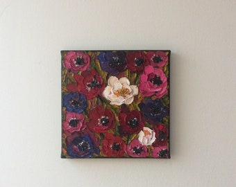 Stunning Contemporary Anemone Palette Knife oil painting on canvas