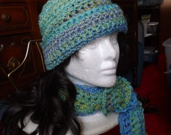 Light Green Blue Purple Crochet Winter Scarf and Beanie Hat Set