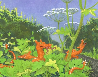 """Dragon picture, fantasy art - """"Ditch Dragons"""" - print by Nancy Farmer - tiny dragons in the hedgerows with nettles and hogweed"""