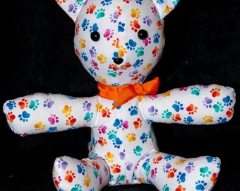 Stuffed Kitten - Rainbow Pawprints