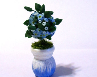 Miniature Topiary, Forget-Me-Not Tree, Blue Floral Decor, Artisan Sculpture, Dollhouse Scale, Cottage Chic, Hand Painted, Wooden Pot