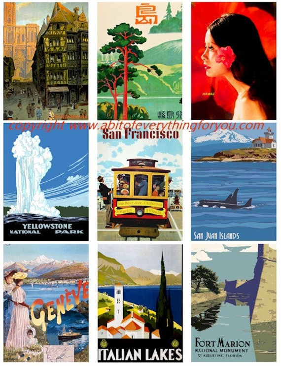 "vintage antique vacation world travel posters collage sheet 2.5"" x 3.5"" inch clip art graphics images digital download craft printables"