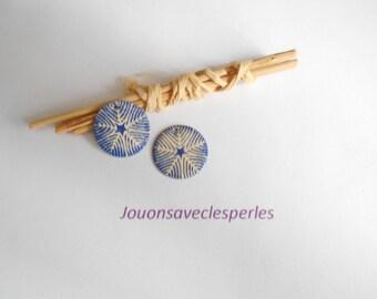 x 2 sequins round ivory Navy Blue pattern