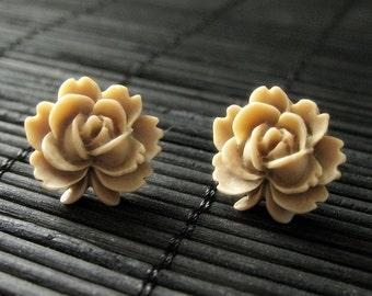 Taupe Lotus Rose Earrings with Silver Stud Earrings. Flower Jewelry by StumblingOnSainthood. Handmade Jewelry.