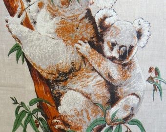 Vintage Australia Heil Tea Towel Koalas Bears Made Pure Linen  Kitchen Towel G2814 Made in Poland