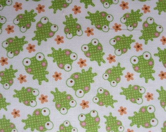 One Week Special - Riley Blake - Sweet Baby Girl - Frogs White By Doodlebug Designs - 6.99 yard