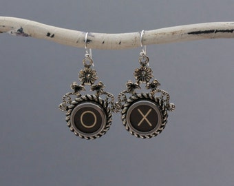 "Typewrriter Key Jewelry-Typewriter Key Earrings - Vintage Black Letters ""X O""-Typewriter Key Accessories-Dangle Typewriter Key Earrings"