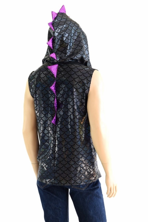 Mens Black Dragon Sleeveless Hoodie with Silver Holographic Spikes & Hoodliner Rave Festival Burning Man -151659 E2G8ygGWmD