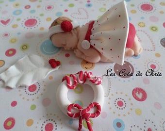 "baby girl theme ""noel"" polymer clay."